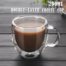 200ml Doppelwandige Thermogläser Teeg Glas Kaffeebecher Tasse Hitzebeständige