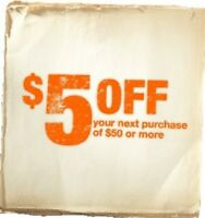 THREE Home Depot $5 Off $50 Coupon In Store Only Purchase