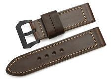 26mm Vintage Brown Genuine Leather Watch Strap Band Black PVD Buckle For Panerai