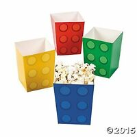 Pack of 12 - Colour Brick Party Popcorn Boxes - Inspired Party Supplies
