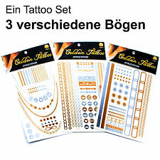 3 x Metallic Golden Flash Tattoo Hautschmuck SIlber Holi Festival Schmuck Hippie