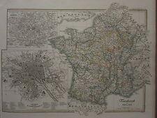 1846 SPRUNER ANTIQUE HISTORICAL MAP ~ FRANCE 1610-1790 PARIS CITY PLAN
