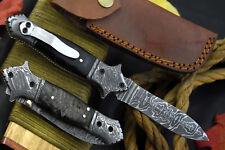 Damascus Steel Clip Point Folding Knife Handmade With Rams Horn Handle (C183-G)