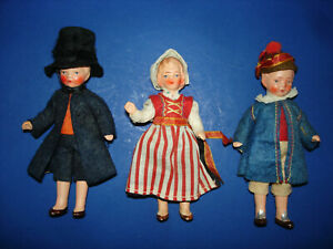 Three Painted Bisque Dollhouse Dolls Hertwig Germany 1930s with Norway Couple