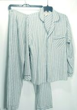 The Vermont Country Store Pajamas PJ L Size Large Men Seersucker Striped Blue