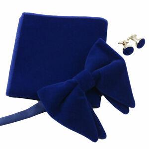 Men Oversized Pre-tied Velvet Bow Tie Pocket Square Cufflinks Set Bowtie Hanky