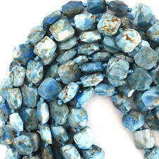 "12-13mm faceted blue apatite flat nugget beads 15.5"" strand"