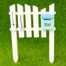 White Fence Blue Mail Box Fairy Garden Terrarium Dollhouse Figurine Decor Toy