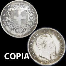 COPIA moneta METALLO collezione Regno d'Italia 5 Lire 1873 Vittorio Emanuele II