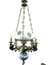 Gothic Dragons Delft Blue White Porcelain chandelier Hanging Lamp 4 Lights HTF