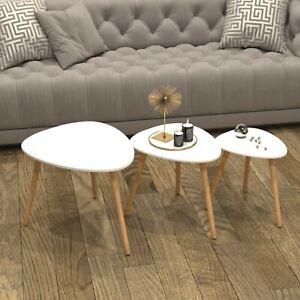 Scandinavian Nest of 3 Tables Coffee Side End Lamp Set Modern Furniture