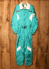 Vintage DESCENTE Teal Green & White Belted and Hooded Ski Suit Men's Sz. XS