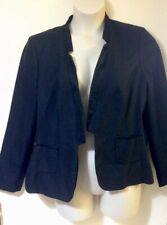 M&S Per Una Black Ladies Smart Jacket Size 22 Satin Look Trim Front Pockets VGC