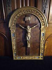 ANCIEN BEAU GRAND CADRE RELIQUAIRE CHRIST BRONZE CRUSIFIX RELIGIEUX