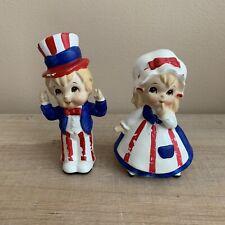 Vintage Lefton Patriotic 4th of July Couple Ceramic Girl & Boy Figurines, Japan
