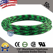 "50 FT. 1/16"" Black Green Expandable Wire Sleeving Sheathing Braided Loom Tubing"