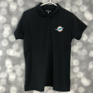 Miami Dolphins Polo Womens Medium Dark Charcoal Gray Embroidered Patch Antigua