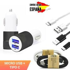 Dual USB Mechero Cargador de Coche 2.1A micro USB / tipo C Movil GPS Adaptador