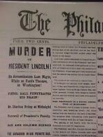 VINTAGE NEWSPAPER HEADLINE ~CIVIL WAR PRESIDENT LINCOLN SHOT DEAD MURDERED 1865