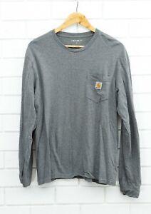 Men's Carhartt Long Sleeve grey T-Shirt Size 100% Cotton Large