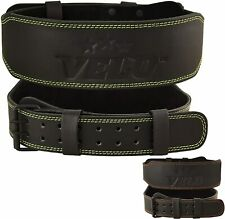 """VELO Power Weight Lifting Buffalo Hide 4"""" Leather Belt Gym Fitness Back Support"""