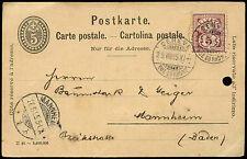 Switzerland 1895, 5c Stationery Card Geneve-Manheim #C19098