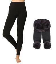 Leggings Donna Coprente Interno in Pelliccia Pantalone Invernale Termico Nero