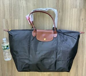 Brand New 🌹 Water Proof Nylon Tote Bag XL Foldable (Color: Black/Brown/Red )