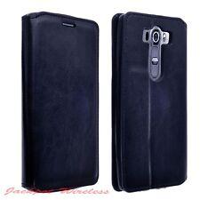 Limited Edition Wallet Case Fold Leather Flip Card Holder for LG V10 Navy Blue