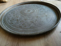 RARE Antique LARGE Persian Indian Brass Charger Tray Mythical Creatures Dogs 5kg