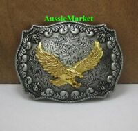 1 x mens ladies belt buckle metal alloy american usa u.s indian feathers brass