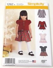 Simplicity 1262 Sewing Pattern Dresses Toddler Girls Sizes 1/2 1 2 3 4