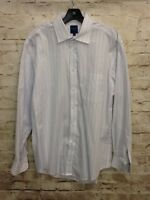 Haspel Men's Striped Lavender and White Dress Shirt 16 34/35