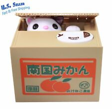 Funny Cat Stealing Coin in orange Box Kitty Piggy Bank Home Decor Gift US Seller