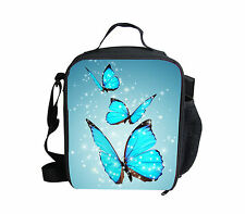 Blue Butterfly Insulated Lunch Pack Bag Little Kids Girls School Food Picnic Box