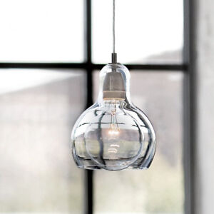 Vintage Smoked Clear Glass Shade Chandelier Pendant Ceiling Home Pub Diner Light