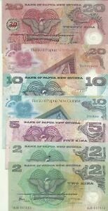 PAPUA NEW GUINEA LOT 69 KINA. 7 NOTES. HIGH VALUE  8RW 06NOV