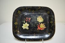 """Antique 19th C  Folk Art Tin Toleware Stenciled Hand Painted Tray 11"""" x 13"""""""