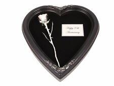 Heart Shaped Shadow Box & Silver Dipped Rose (Free 25th Anniversary Gift Box)