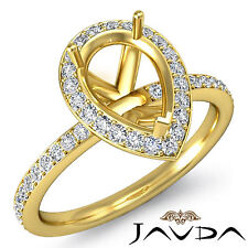 Diamond Engagement Proposed Halo Pave Ring 14k Yellow Gold Pear Semi Mount 1Ct