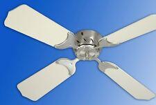"12V Electric Remote Ceiling Fan, RV, Motorhome Nickel / Almond 31"""