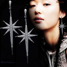 White Gold Fill Micro Setting Cubic Zirconia Women Long Dangle Star Earring IE94