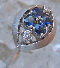 Fine✨ ☺3,8 Gramm☺in aus 585 14k Weiß Gold Diamant Safir Ring mit Brillant Safire