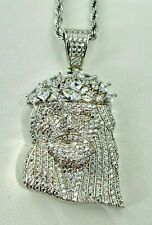 Men's Italy Real 925 Sterling Silver Jesus Piece Head iced Pendant Rope Chain