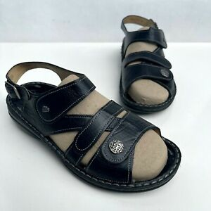 FINN COMFORT Gomera-S Black Leather Sandals Women's Size 38 7-7.5 *NO INSOLES*