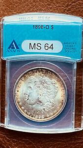 MORGAN DOLLAR 1898-O ANACS MS 64 BEAUTIFUL TONED RIM BEAUTIFUL SURFACE TOO!