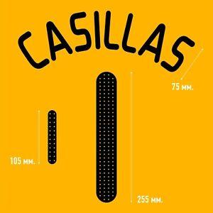 Casillas 1. Spain Goalkeeper football shirt 2008 2009 FLEX NAMESET NAME SET