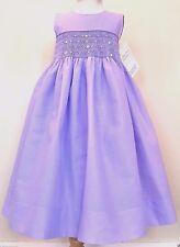 NWT STRASBURG Children Boutique 18M Purple Smocked Cotton Party Dressy Dress