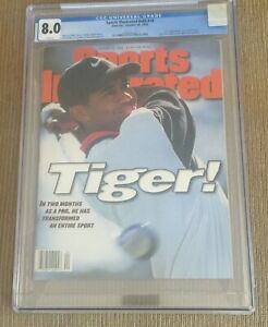 TIGER WOODS 1996 Sports Illustrated CGC 8.0 ROOKIE RC NEWSSTAND NO LABEL MINT
