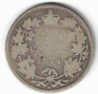 CANADA 1874H TWENTY FIVE CENTS QUARTER QUEEN VICTORIA STERLING SILVER COIN